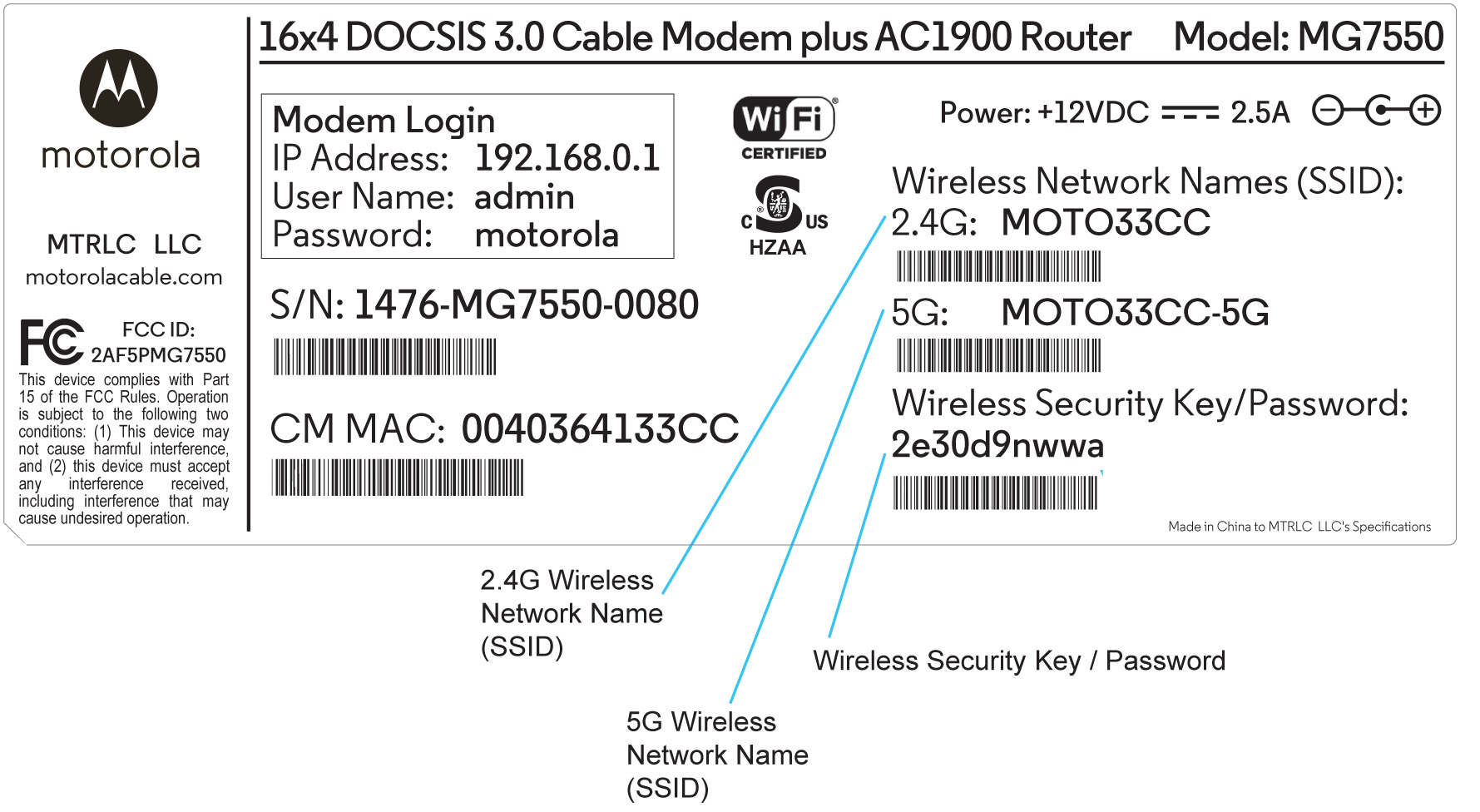 Where can I find the Wireless Network Name (SSID) and Wireless